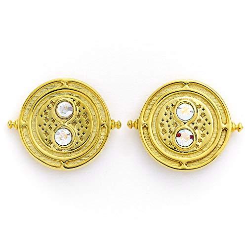 Pendientes oficiales de Harry Potter Time Turner de plata de ley, chapados en oro, adornados con cristales Swarovski de The Carat Shop