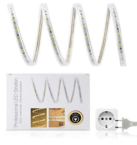 50 LED Universum Bande à LED blanc chaud Protection IP68 60 LED/m Blanc Chaud 230 V)