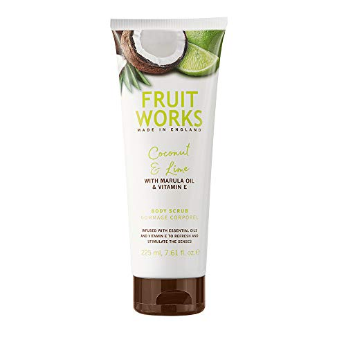 Fruit Works Coconut & Lime Cruelty Free & Vegan Body Scrub With Natural Extracts 1x 225ml