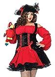 Leg Avenue Women's Plus Size Vixen Pirate Wench with Velvet Double lace up Corset Dress, Red/black, 3X/ 4X
