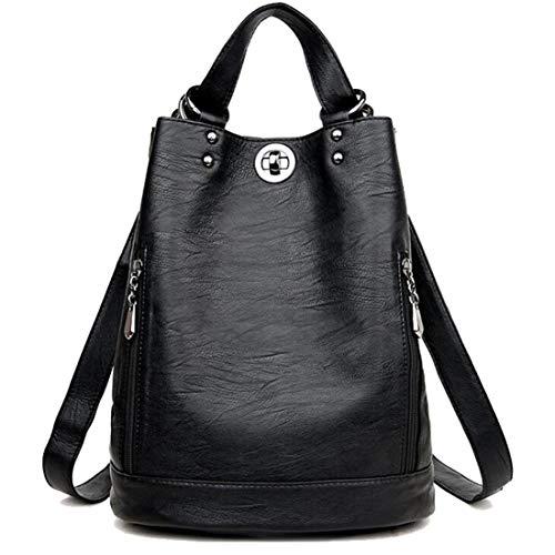 Fashion Mode Damen Rucksack PU Leder Damentasche Schultertasche Handbag Rucksäcke Frauen Rucksack 2 in 1 Multifunktionaler Rucksack (Schwarz)