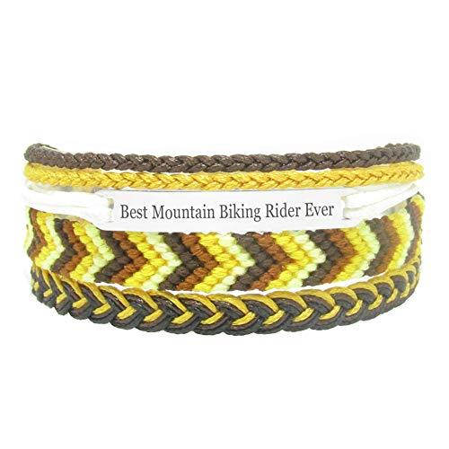 Miiras Braccialetto Fatto a Mano da Donna - Best Mountain Biking Rider Ever - Giallo - Realizzato in Filo da Ricamo e Acciaio Inossidabile - Regalo per Cavaliere della Mountain Bike