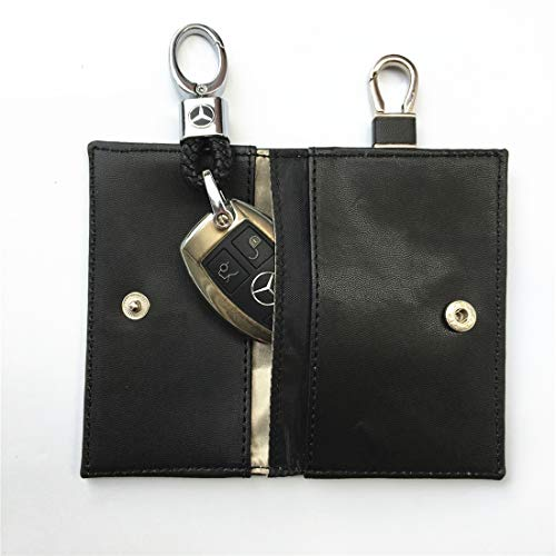 PU negro gancho coche escudo bolsa llave anti-magnético seguridad anti-posicionamiento RFID anti-scan