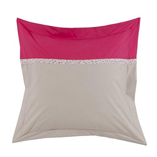 Essix - Taie d'oreiller Toi & Moi Laurette Percale de Coton Azalée/Lin 64 x 64 cm