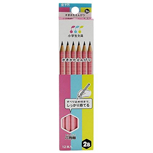サクラクレパス かきかた鉛筆 小学生文具 2B 六角 G6エンピツ2B#20 ピンク 12本