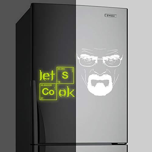 (40 x 25 cm), in vinile, da parete, modello: Breaking Bad Heisenberg ', fosforescente Lets Cook testo Kitchen adesivo Serious Walter White LED