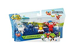 """This Super Wings set features 4 fan-favorite characters in the 2"""" Transform-A-Bot scale: Flip, Todd, Agent Chase and Astra. 2 inch scale transforming figures – Transform from vehicle to bot in 3 easy steps. Agent Chase – The special agent member of t..."""