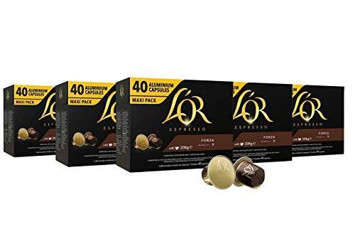 L'OR Espresso Kaffee Forza Intensität 9 - Nespresso®* kompatible Kaffeekapseln aus Aluminium - 5 Packungen mit 40 Kapseln (200 Getränke)