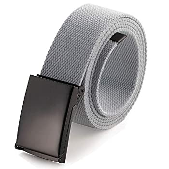 Cut To Fit Canvas Web Belt Size Up to 52  with Flip-Top Solid Black Military Buckle  Gray