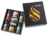 Grill Geschenk-Set Naturtalente Geschenke für Männer Zubehör Grillgewürze Gewürzmühlen Grillsaucen Honig-Senf Aioli Steak Salz in toller BBQ Geschenkbox