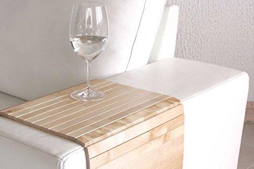 moebelhome Sofatablett Holz ~ Armlehnen Ablage Tablett BIRKE Natur Armlehnenschoner Massiv-Holz NEU