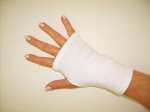 SPF 50 Stretch Fingerless Gloves, White. One Size Fits All.