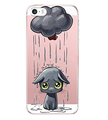 Pacyer Case kompatibel mit iPhone SE Hülle Silikon Ultra dünn Transparent iPhone 5S iPhone 5 Handyhülle Rückschale TPU Schutzhülle für Apple iPhone SE / 5S / 5 Cover Mädchen Elefant Federn(4)