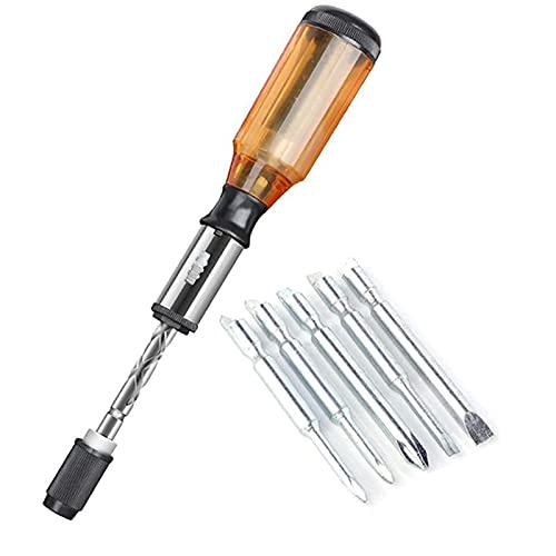 tool screwdriver with bit holders Push Pull Ratchet Screwdriver Set 5 in 1 Screwdriver Bit Set Sleeve Driver Bit-Holder Ratchet Socket Screw Driver Kit, Screwdriver Bits for Repair Home Improvement Craft