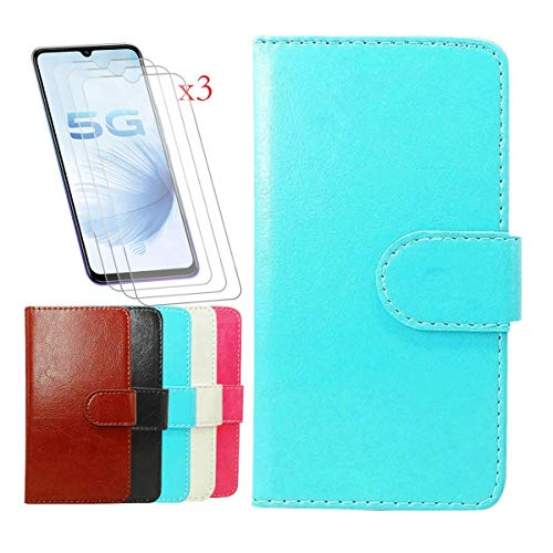 """Wallet Case for Nuu Mobile A5L+ (5.5"""") + [3 Pack] Tempered Film Glass Screen Protector,YZKJ Flip PU Leather Case with Credit Card Slots and Stand Protective Cover - Blue"""