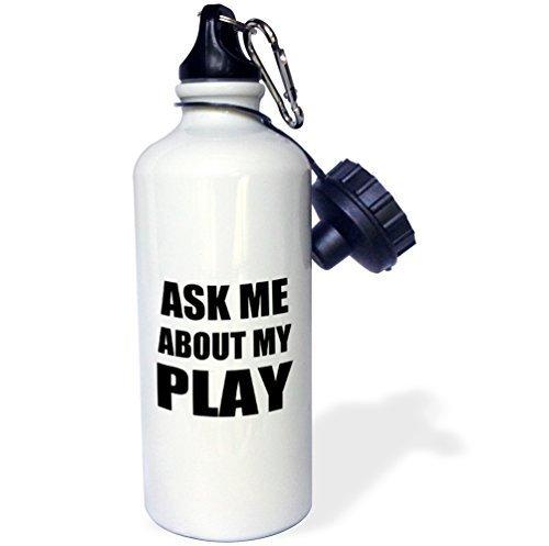 Cukudy sport waterfles geschenk, vraag me over mijn spel reclame voor Script schrijver theater acteur directeur Etc reclame zelf wit roestvrij staal waterfles voor vrouwen mannen 21 oz