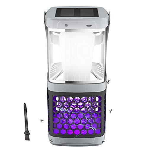 EXTSUD Insektenvernichter,UV Insektenvernichter Elektrischer Insektenfalle Mückenlampe 2 in 1 Moskito Lampe mit IP44 Wasserdicht und Tragbare LED Campinglampe Laterne Zelt Licht für Innen&Außen