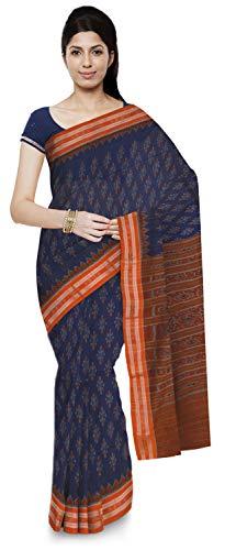 ODISHA HANDLOOM Women's Sambalpuri Cotton Saree Without Blouse Piece (o 48_Blue)