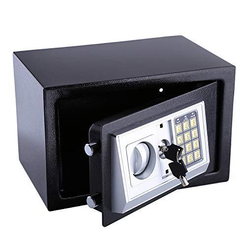 Dioche Caja fuerte resistente al fuego con llave, cierre de seguridad digital PIN caja de almacenamiento para proteger dinero, dinero en efectivo, monedas, joyas, llaves y dinero en efectivo
