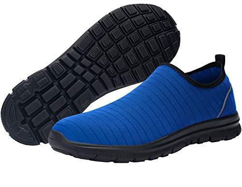 DYKHMATE Sicherheitsschuhe Herren Damen Wasserdicht Schnell Trocknen Stahlkappe Arbeitsschuhe Leicht Atmungsaktiv Sicherheitssneaker (Königs Blau,37 EU)