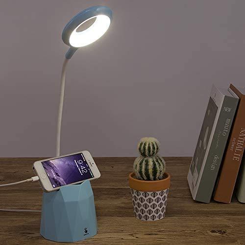 Portalápices lámpara de escritorio LED protección de los ojos lámpara de mesa pequeña lámpara de mesa infantil luz de lectura USB recargable con soporte para bolígrafo (Azul)