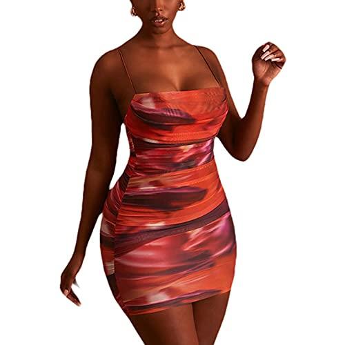 ChouZZ Vestido sexy para mujer, con estampado de teñido anudado, correa de espagueti, de una pieza, para fiesta de club, vestido de noche
