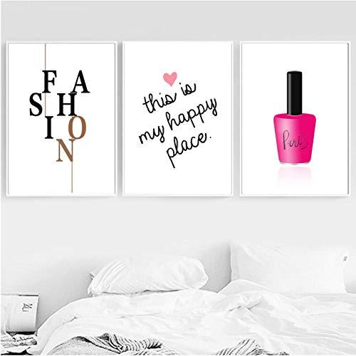 Nagellak Mode Merk Muurkunst Canvas Schilderen Nordic Posters en Prints Decoratie Foto's voor Woonkamer Salon 30x40cmx3 ongekaderde