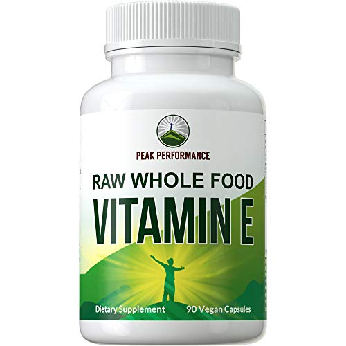 Raw Whole Food Vitamin E Capsules by Peak Performance. USA Sourced, Vegan Pills with Vitamins E, A, D, K for Max Absorption. for Skin, Hair, Nails, Immune Support