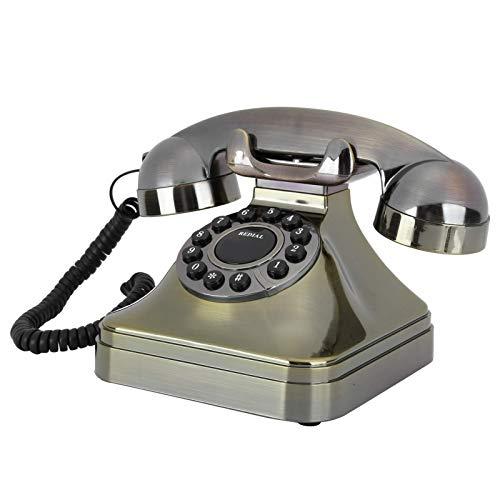 LDDZB Teléfono Retro, Teléfono Fijo de Bronce Antiguo HH Definición Llamada Botón Grande Teléfonos de Escritorio para la decoración de la Oficina en casa
