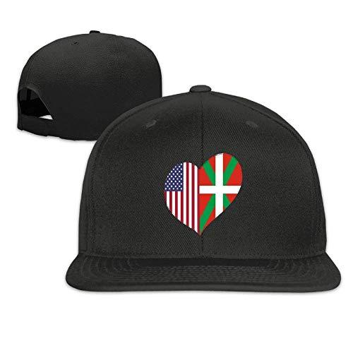 Voxpkrs Heart Basque Country American Flag Flat Bill Brim Adjustable Outdr Dance Hats Caps Baseball Cap for Men Women Q8S3S620