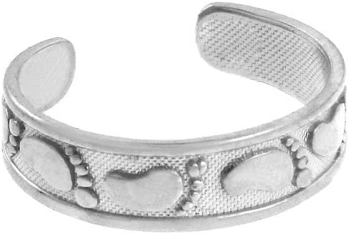 14k White Gold Footprints in The Sand Band Christian Toe Ring