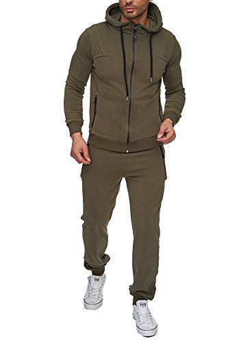 Reslad Trainingsanzug Herren Jogginganzug für Männer Sportanzug Freizeitanzug Jogginghose + Zip Sweatshirt Oberteil RS-5063 Khaki S