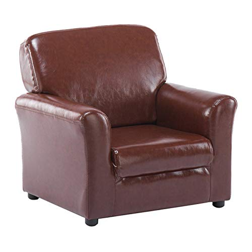 XLSQW Canapé Enfant, 1 Place accoudoir Chaise siège Salon pour Enfants Chaise Mignonne Dossier Chaise en Cuir PU en Cuir épaissi épaise Cadre en Bois, pour Enfants Cadeau,Marron