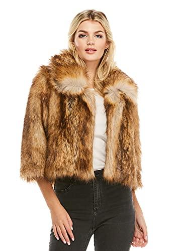Gold Fox Faux Fur Foxy Crop Jacket (L) (Gold Fox)