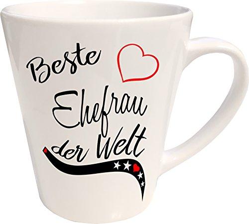 Mister Merchandise Kaffeebecher Latte Tasse Beste Ehefrau der Welt Frau Heirat Ehe Danke Milchkaffee Becher konisch Weiß