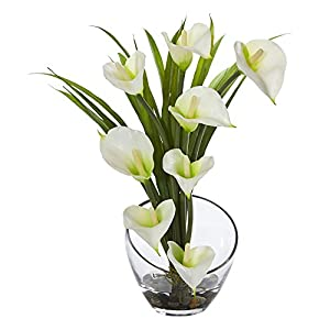 Nearly Natural Calla Lily and Grass in Vase, 15.5″, Cream