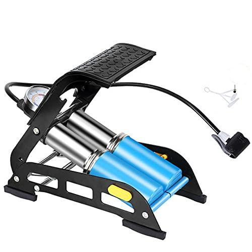 Inflador pedalesalta presión , Manómetro precisión, Bomba neumáticos Bicicleta para Bicicletas, Motocicletas, Bolas, Adapta a válvula Presta & Schrader y Montaje Marco-Blue