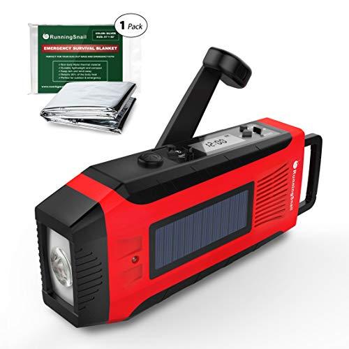 RunningSnail Emergency Solar AM/FM//NOAA Weather Radio - 3W LED Flashlight, SOS Alarm & 2000MAh Power Bank for Hurricane/Storm/Earthquake/Camping/Hiking - with Emergency Blanket