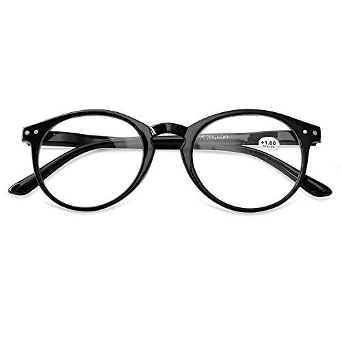 KOOSUFA Lesebrille Damen Herren Rund Federscharniere Klassische Lesehilfen Blumen Vintage Vollrandbrille Arbeitsplatzbrille 1.0 1.25 1.5 1.75 2.0 2.25 2.5 2.75 3.0 3.5 4.0 (Schwarz, 4.0)
