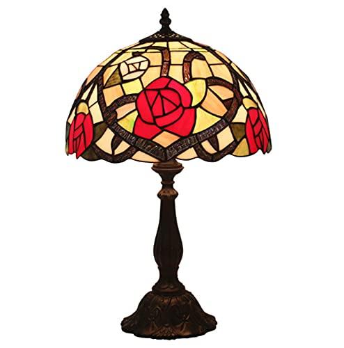 Vintage Pastoral Mesa Lámpara de Tiffany Estilo Lámpara de Mesa Patrón de Flores Pantalla de Vidrio Manchado para Estudiar Oficina Inicio Bar Dormitorio Decorativo (Color : Alloy Base)