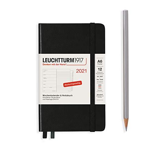 LEUCHTTURM1917 361831 Wochenkalender & Notizbuch 2021 Hardcover Pocket (A6), 12 Monate, Schwarz, Deutsch