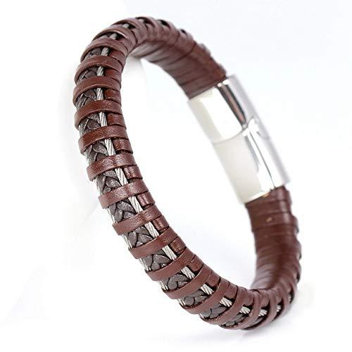 GMZPP 316L RVS Armbanden Mode Sportieve Handgemaakte Gebreide Bandage Vriendschap Heren Lederen Armbanden Bangles Bruin