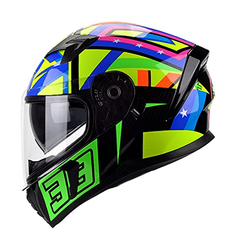 Casco Moto Integral ECE Homologado Casco Integral de Cara con Doble Visera Casco Integral para Motocicleta para Mujer Hombre Adultos W,XL