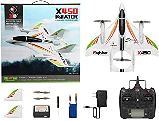 Oddalsail-US XK X450 3D Aerobatic RC Airplane 6 Channels Remote Control Vertical Takeoff Landing Fixed Wing Plane Helicopter Toys Drone White