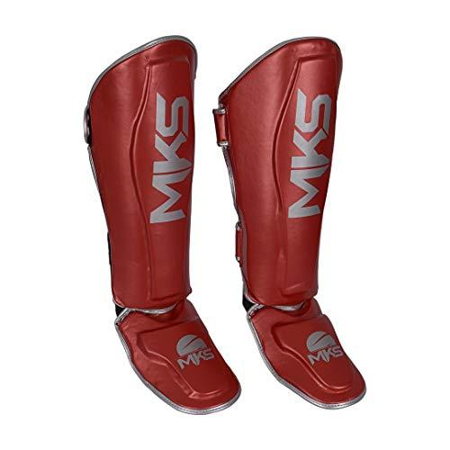 Caneleira de Muay Thai e Kickboxing MKS Energy V2 Metalic Red (GG)