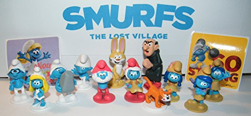 The Lost Village Smurfs Movie Deluxe Party Favors Goody Bag Fillers 14 Set with Figures and Stickers with Popular Classic Smurfs, 4 New Smurfs and Bunny Bucky!