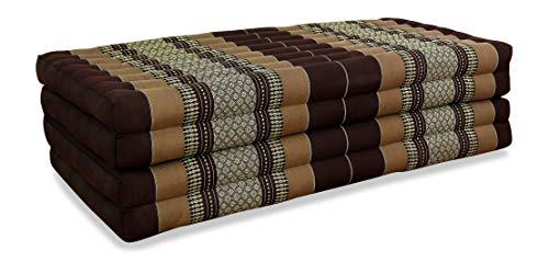 livasia Klappmatratze extrabreit (195cm x 110cm) aus Kapok, Faltbare Gästematratze, klappbare Matratze, asiatische Faltmatratze (braun)