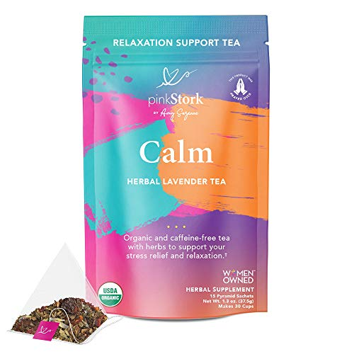Product Image of the Pink Stork Calm Tea: Lavender Herbal Tea, 100% Organic, Stress Relief +...