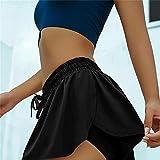 xiaomomo521 Keiki Kona Shorts, Keiki Kona Shorts para Mujer, Pantalones Cortos De Yoga para Correr De Doble Capa 2 En 1 para Mujer, Pantalones Cortos De Doble Capa para Correr 2XL Negro