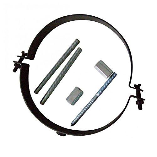 Kamino–Flam – Abrazadera para tubos de chimenea, estufa, horno, Abrazadera con tornillos para conducto de humos – acero resistente y durable – Negro, Ø 150 mm
